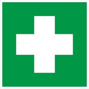 Знак аптечки первой медицинской помощи код EC 01 согласно ГОСТ Р 12.4.026-2015