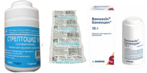 Как применять Стрептоцид порошок (измельченные таблетки) или Банеоцин порошок